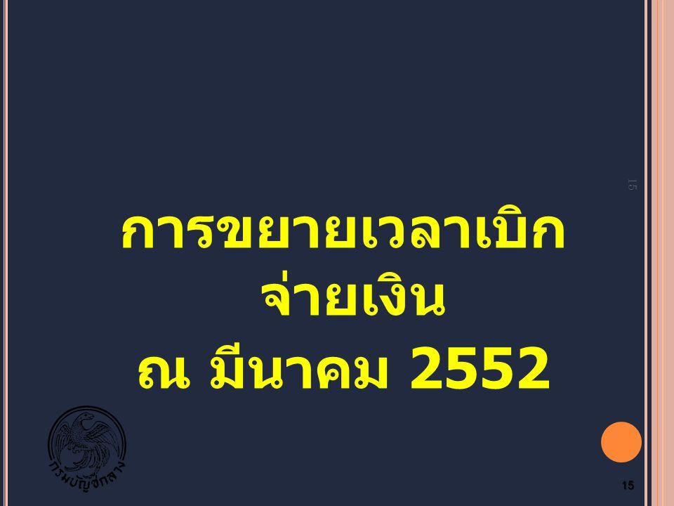 การขยายเวลาเบิก จ่ายเงิน ณ มีนาคม 2552 15 15