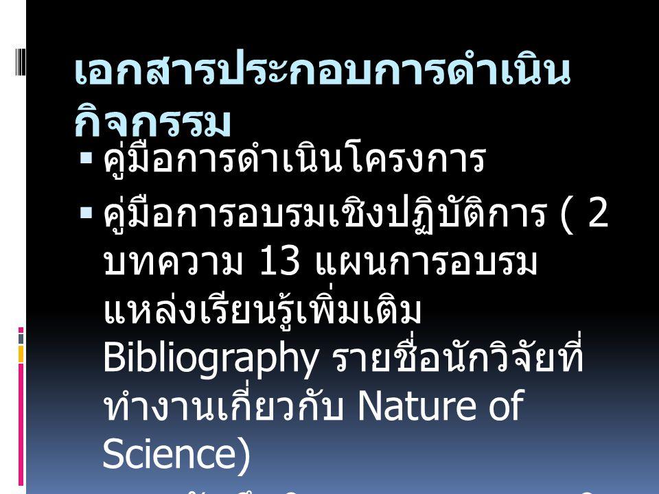 เอกสารประกอบการดำเนิน กิจกรรม  คู่มือการดำเนินโครงการ  คู่มือการอบรมเชิงปฏิบัติการ ( 2 บทความ 13 แผนการอบรม แหล่งเรียนรู้เพิ่มเติม Bibliography รายชื่อนักวิจัยที่ ทำงานเกี่ยวกับ Nature of Science)  แบบบันทึกกิจกรรมการอบรมเชิง ปฏิบัติการ