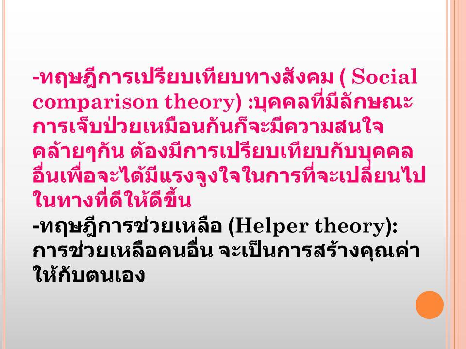 - ทฤษฎีการเปรียบเทียบทางสังคม ( Social comparison theory) : บุคคลที่มีลักษณะ การเจ็บป่วยเหมือนกันก็จะมีความสนใจ คล้ายๆกัน ต้องมีการเปรียบเทียบกับบุคคล อื่นเพื่อจะได้มีแรงจูงใจในการที่จะเปลี่ยนไป ในทางที่ดีให้ดีขึ้น - ทฤษฎีการช่วยเหลือ (Helper theory): การช่วยเหลือคนอื่น จะเป็นการสร้างคุณค่า ให้กับตนเอง