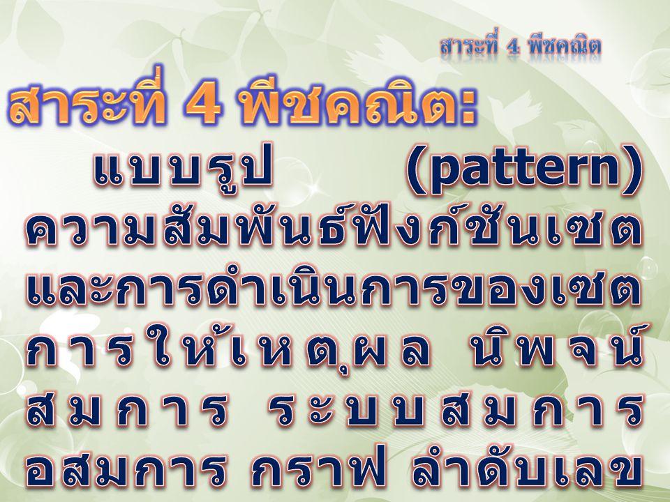 มาตรฐาน ค 4.1 เข้าใจและวิเคราะห์ แบบรูป (pattern) ความสัมพันธ์ และ ฟังก์ชัน มาตรฐาน ค 4.2 ใช้นิพจน์ สมการ อสมการ กราฟ และตัวแบบเชิง คณิตศาสตร์ mathematical model) อื่น ๆ แทนสถานการณ์ต่าง ๆ ตลอดจนแปล ความหมาย และนำไปใช้แก้ปัญหา