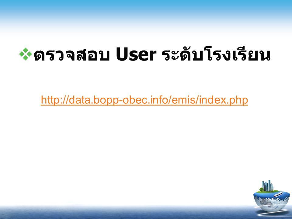  ตรวจสอบ User ระดับโรงเรียน http://data.bopp-obec.info/emis/index.php