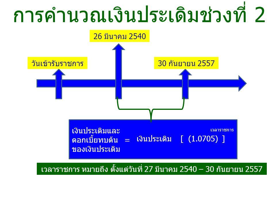 การคำนวณเงินประเดิมช่วงที่ 2 วันเข้ารับราชการ 26 มีนาคม 2540 30 กันยายน 2557 เงินประเดิม [ (1.0705) ] เงินประเดิมและ ดอกเบี้ยทบต้น = ของเงินประเดิม เวลาราชการ เวลาราชการ หมายถึง ตั้งแต่วันที่ 27 มีนาคม 2540 – 30 กันยายน 2557