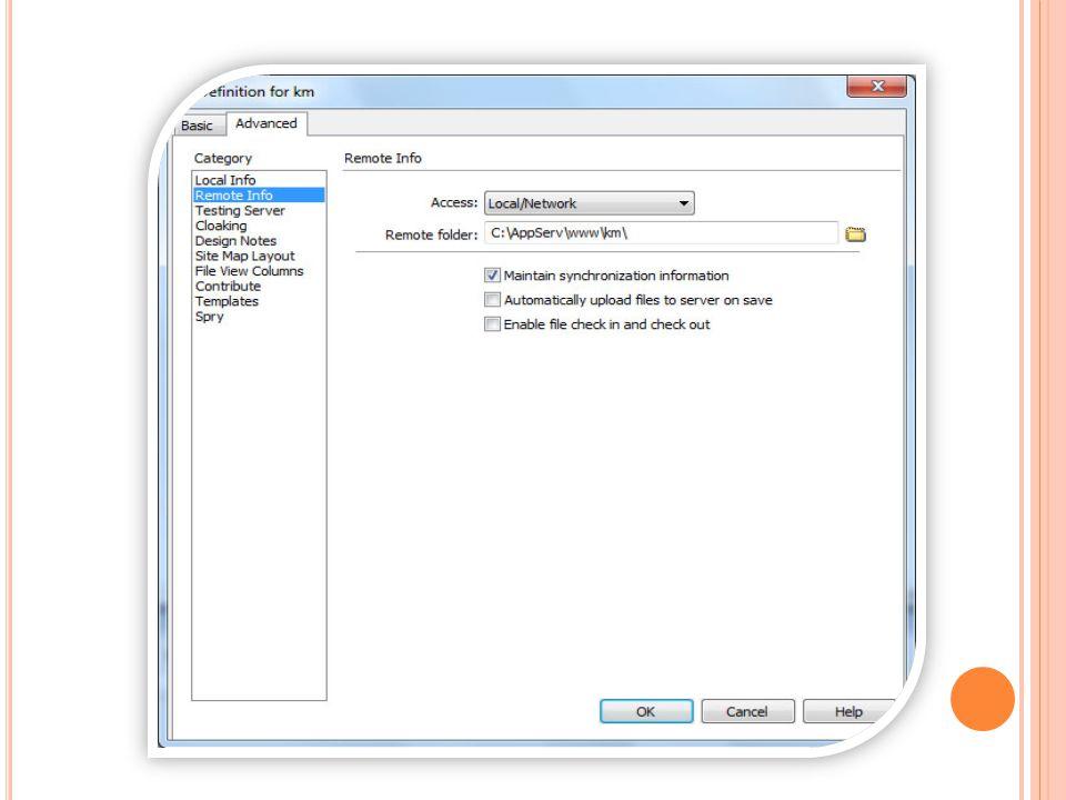 กำหนดส่วนของ Testing Server เลือกรูปแบบ Server Model เลือกรูปแบบ Network เลือกตำแหน่ง Folder ที่ให้ Test Server ใส่ชื่อ Web server และ sub folder ที่ใช้ในการทดสอบ การ Run เมื่อกด F12 หรือ Preview in