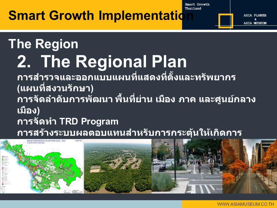 WWW.ASIAMUSEUM.CO.TH 2. The Regional Plan การสำรวจและออกแบบแผนที่แสดงที่ตั้งและทรัพยากร ( แผนที่สงวนรักษา ) การจัดลำดับการพัฒนา พื้นที่ย่าน เมือง ภาค