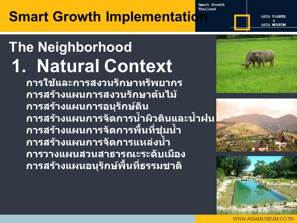 WWW.ASIAMUSEUM.CO.TH 1. Natural Context การใช้และการสงวนรักษาทรัพยากร การสร้างแผนการสงวนรักษาต้นไม้ การสร้างแผนการอนุรักษ์ดิน การสร้างแผนการจัดการน้ำผ