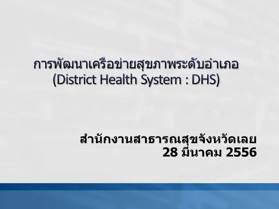 ตัวชี้วัด DHS จำนวน 2 ข้อ KPI ที่ 1 ขั้นการพัฒนา การทำแบบประเมินตนเอง (self assessment) ของระบบ สุขภาพระดับอำเภอตามบันได 5 ขั้น ให้ครอบคลุม หัวข้อย่อย 5 ประเด็น คือ การทำงานร่วมกันในระดับอำเภอ (Unity District Health Team) การทำงานจนเกิดคุณค่าทั้งผู้รับบริการและตัวผู้ ให้บริการเอง (Appreciation) การแบ่งปันทรัพยากรและการพัฒนาบุคลากร (Rerource sharing and human development) การให้บริการสุขภาพตามบริบทที่จำเป็น (Essential care) การมีส่วนร่วมของเครือข่ายและชุมชน (Community participation) การวัดผล วัดจากความก้าวหน้า โดยเมื่อสิ้นปีงบประมาณมี ความก้าวหน้าเพิ่มขึ้นอย่างน้อย 1 ขั้น ของเนื้อหา หรืออย่าง น้อยระดับ 3 ในแต่ละหัวข้อย่อยขึ้นไป