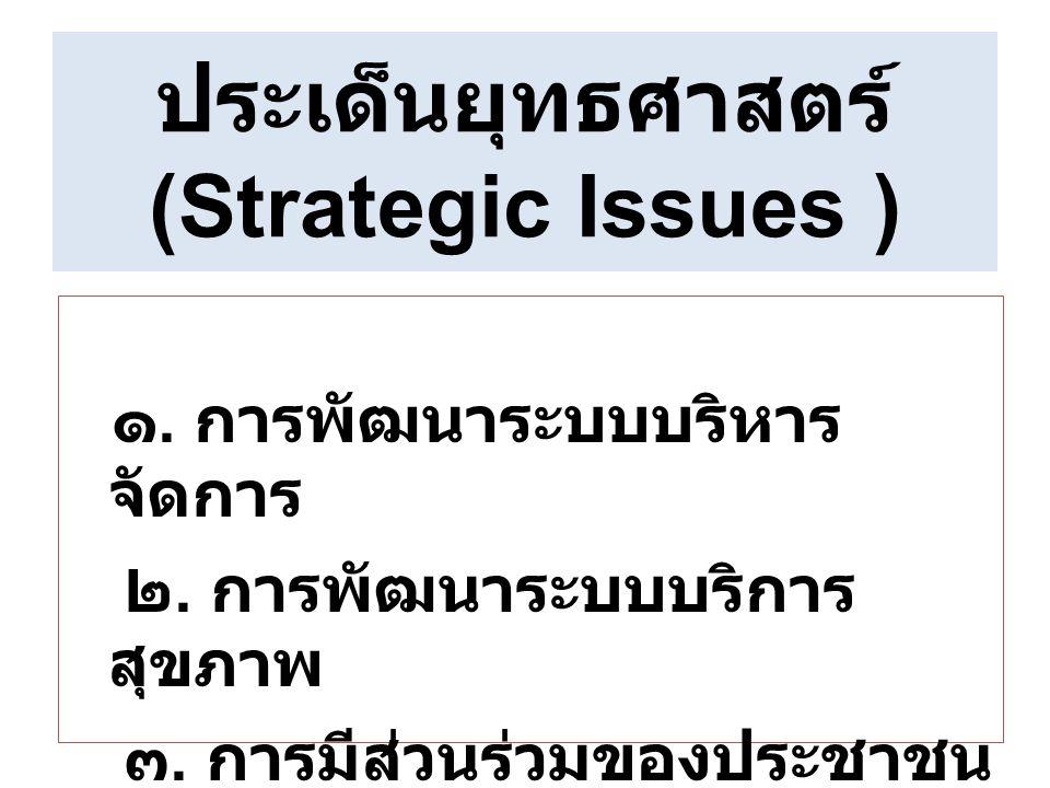 ประเด็นยุทธศาสตร์ ( Strategic Issues ) ๑. การพัฒนาระบบบริหาร จัดการ ๒. การพัฒนาระบบบริการ สุขภาพ ๓. การมีส่วนร่วมของประชาชน และพหุภาคี