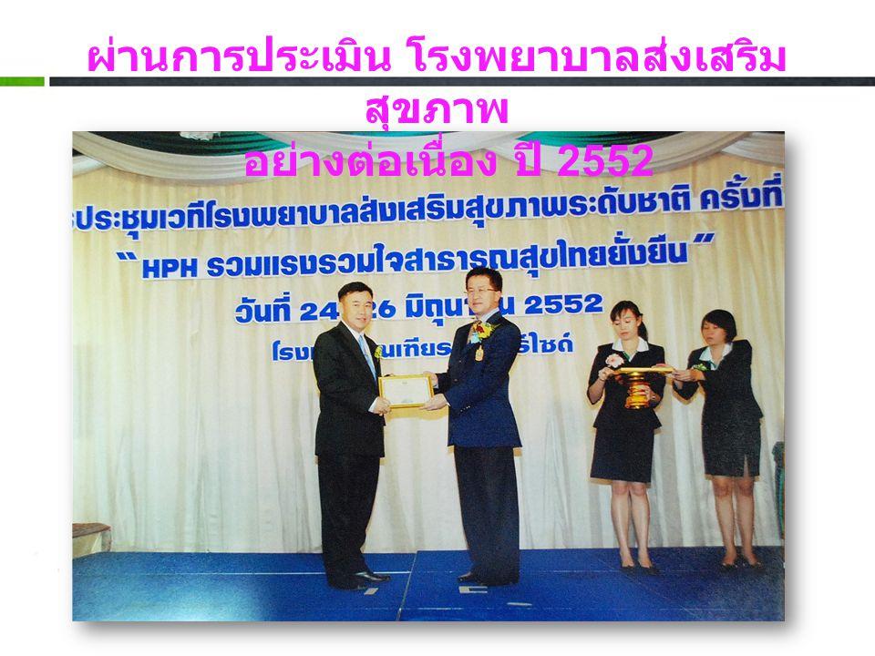 ผ่านการประเมิน โรงพยาบาลส่งเสริม สุขภาพ อย่างต่อเนื่อง ปี 2552