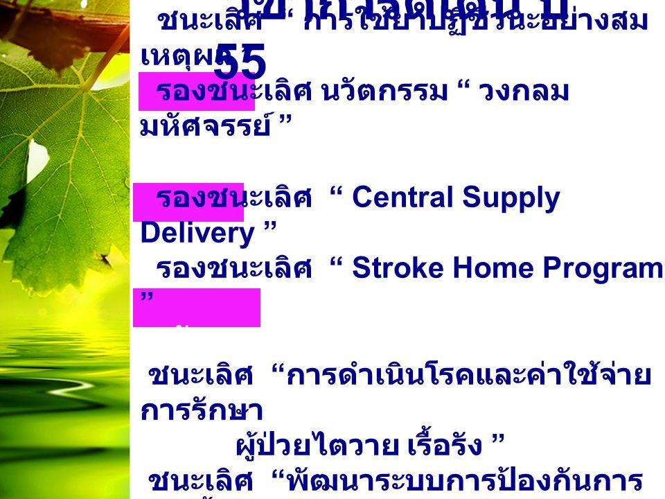 """วิชาการดีเด่น ปี 55 ระดับจังหวัด ชนะเลิศ """" การใช้ยาปฏิชีวนะอย่างสม เหตุผล """" รองชนะเลิศ นวัตกรรม """" วงกลม มหัศจรรย์ """" ระดับเขต รองชนะเลิศ """" Central Supp"""