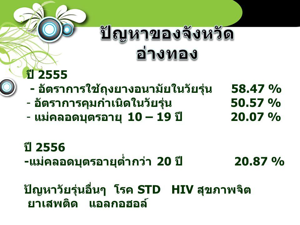 ปี 2555 - อัตราการใช้ถุงยางอนามัยในวัยรุ่น 58.47 % - อัตราการคุมกำเนิดในวัยรุ่น 50.57 % - แม่คลอดบุตรอายุ 10 – 19 ปี 20.07 % ปี 2556 -แม่คลอดบุตรอายุต่ำกว่า 20 ปี 20.87 % ปัญหาวัยรุ่นอื่นๆ โรค STD HIV สุขภาพจิต ยาเสพติด แอลกอฮอล์