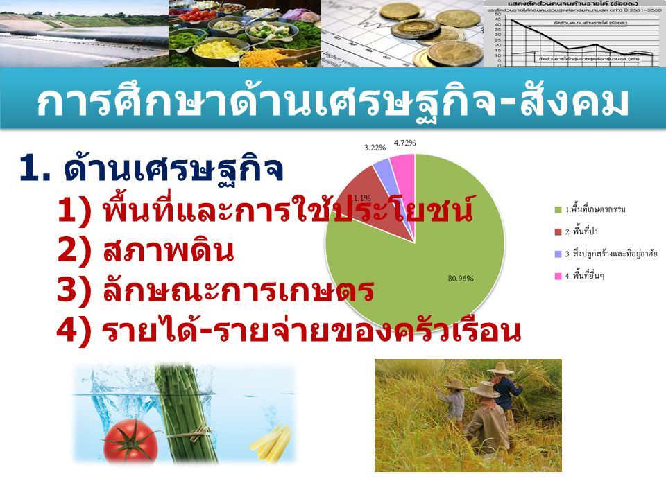 การศึกษาด้านเศรษฐกิจ - สังคม 1. ด้านเศรษฐกิจ 1) พื้นที่และการใช้ประโยชน์ 2) สภาพดิน 3) ลักษณะการเกษตร 4) รายได้ - รายจ่ายของครัวเรือน