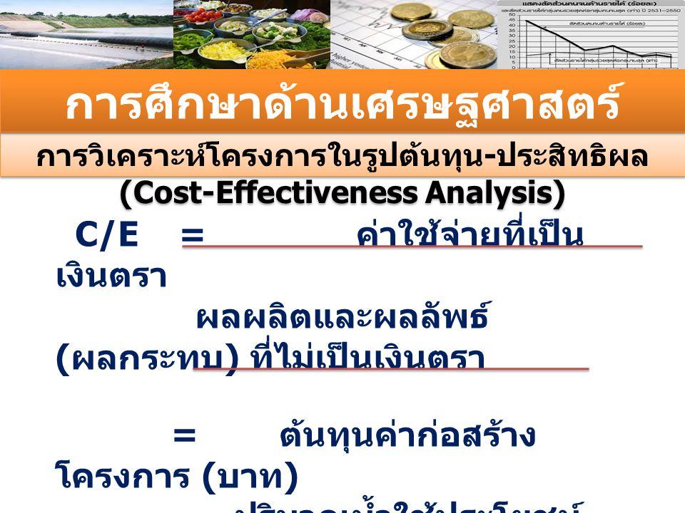 การวิเคราะห์โครงการในรูปต้นทุน - ประสิทธิผล (Cost-Effectiveness Analysis) การศึกษาด้านเศรษฐศาสตร์