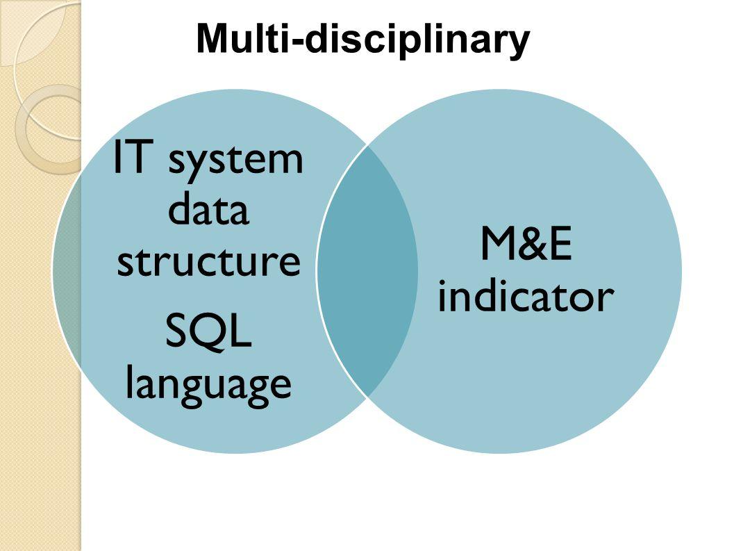 IT system data structure SQL language M&E indicator Multi-disciplinary