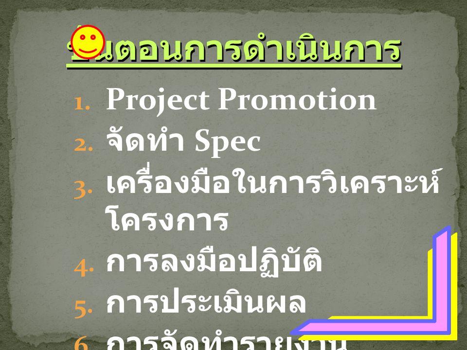1. Project Promotion 2. จัดทำ Spec 3. เครื่องมือในการวิเคราะห์ โครงการ 4. การลงมือปฏิบัติ 5. การประเมินผล 6. การจัดทำรายงาน