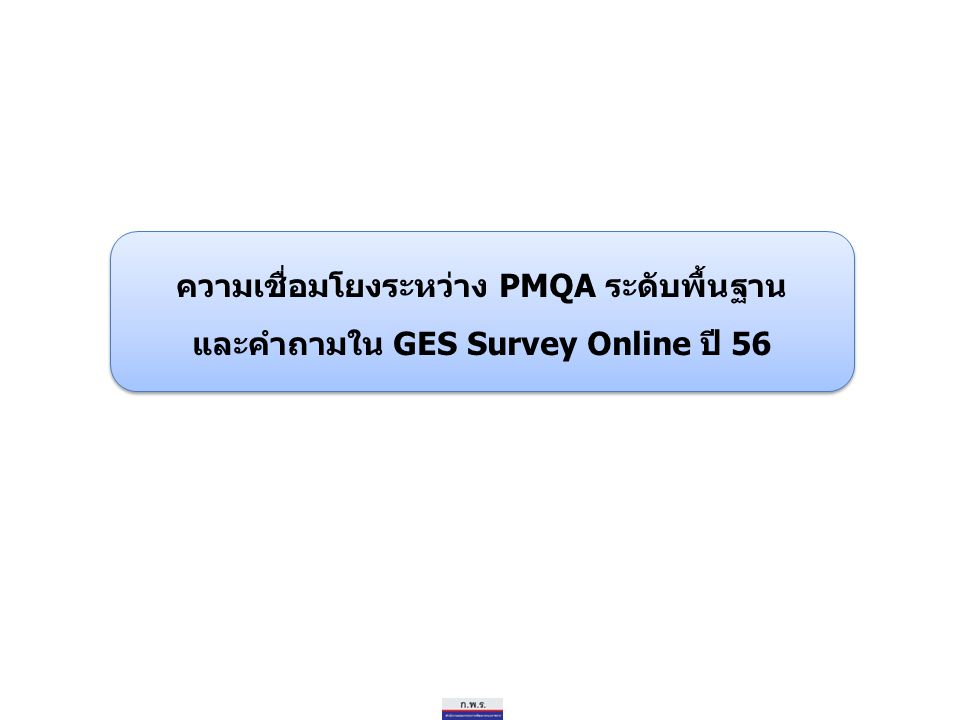 ความเชื่อมโยงระหว่าง PMQA ระดับพื้นฐาน และคำถามใน GES Survey Online ปี 56 ความเชื่อมโยงระหว่าง PMQA ระดับพื้นฐาน และคำถามใน GES Survey Online ปี 56