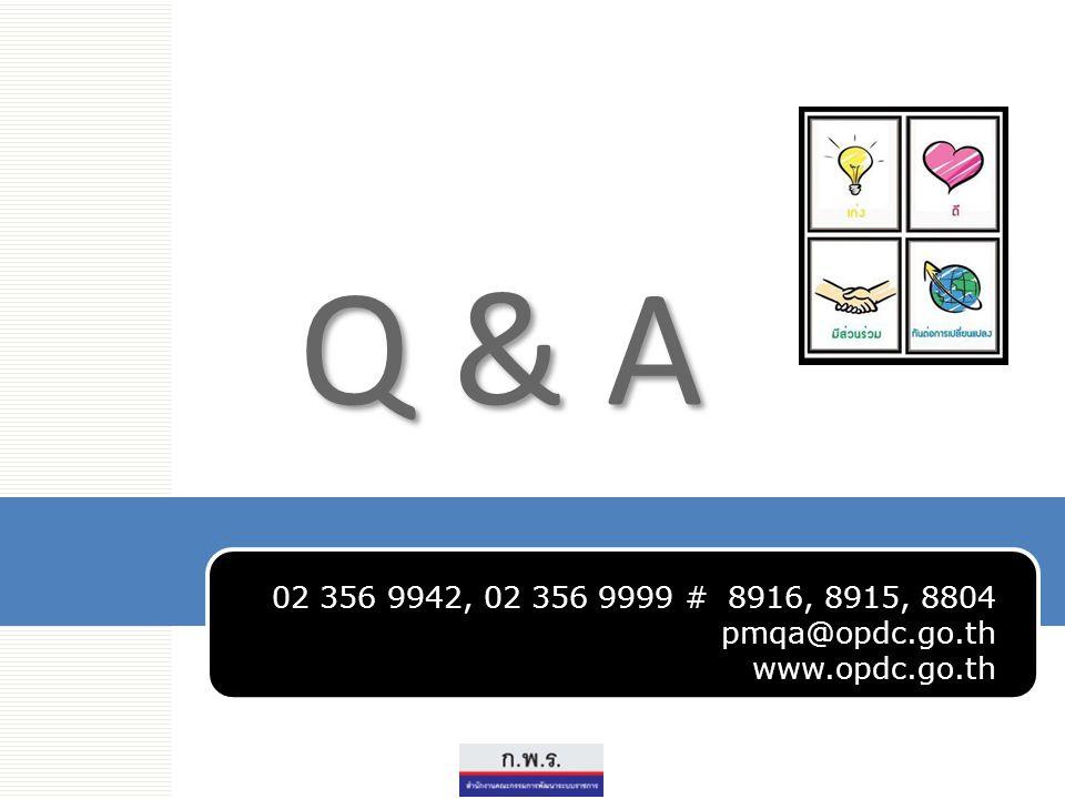Q & A www.opdc.go.th 02 356 9942, 02 356 9999 # 8916, 8915, 8804 pmqa@opdc.go.th www.opdc.go.th