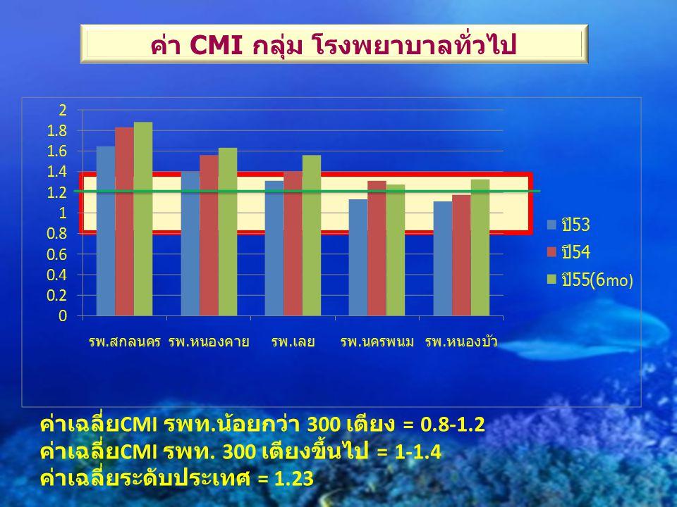 ค่า CMI กลุ่ม โรงพยาบาลทั่วไป ค่าเฉลี่ย CMI รพท. น้อยกว่า 300 เตียง = 0.8-1.2 ค่าเฉลี่ย CMI รพท. 300 เตียงขึ้นไป = 1-1.4 ค่าเฉลี่ยระดับประเทศ = 1.23