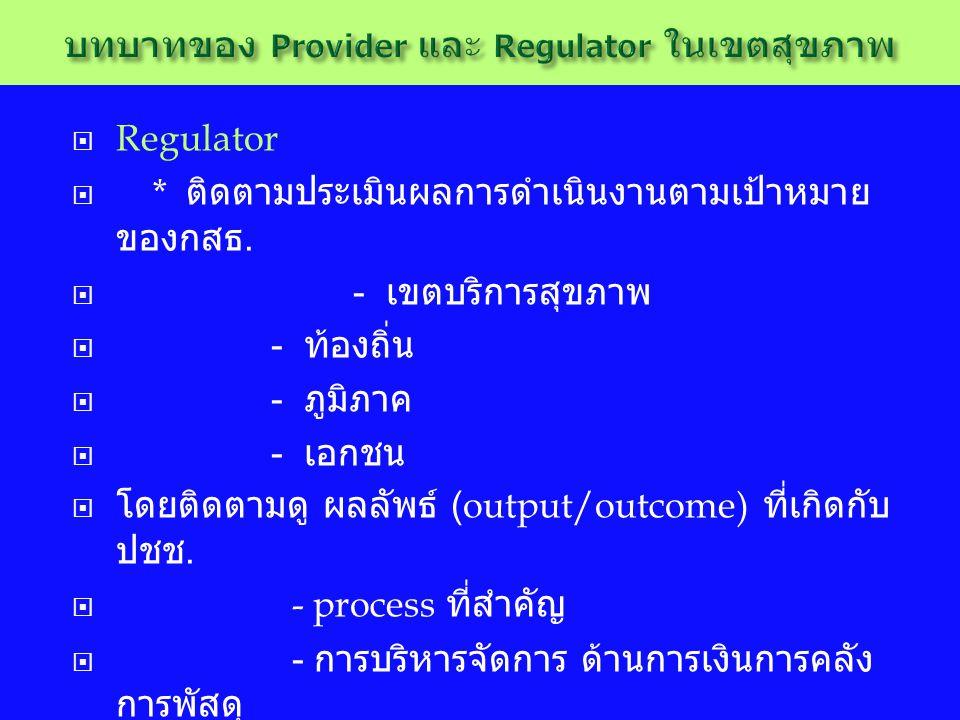  Regulator  * ติดตามประเมินผลการดำเนินงานตามเป้าหมาย ของกสธ.  - เขตบริการสุขภาพ  - ท้องถิ่น  - ภูมิภาค  - เอกชน  โดยติดตามดู ผลลัพธ์ (output/ou