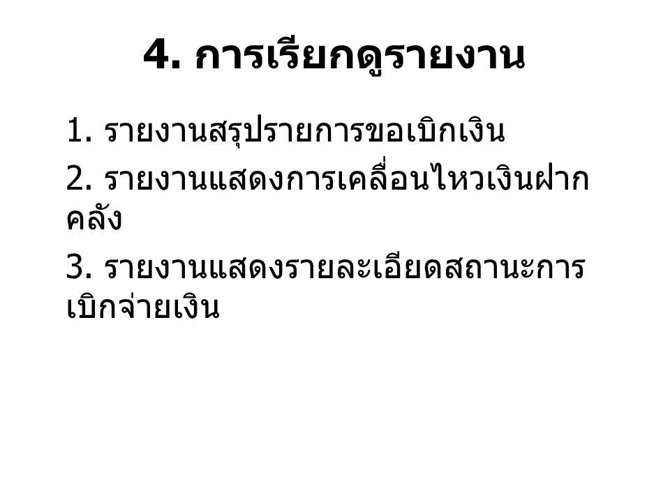 4. การเรียกดูรายงาน 1. รายงานสรุปรายการขอเบิกเงิน 2.