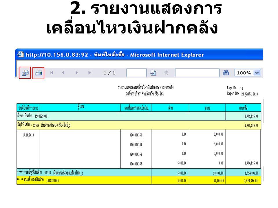 2. รายงานแสดงการ เคลื่อนไหวเงินฝากคลัง