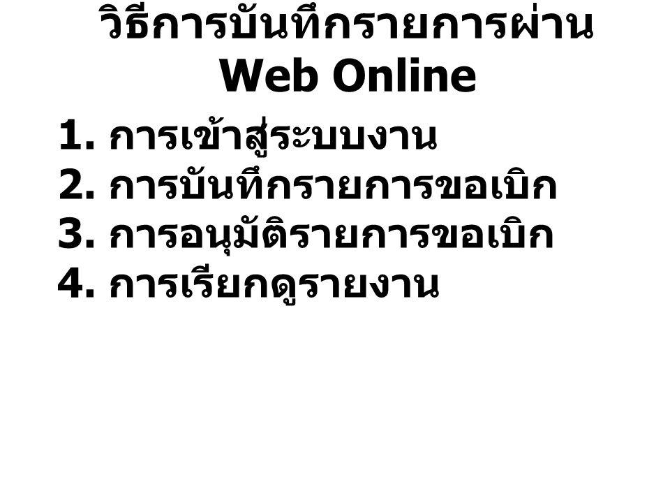 วิธีการบันทึกรายการผ่าน Web Online 1. การเข้าสู่ระบบงาน 2.