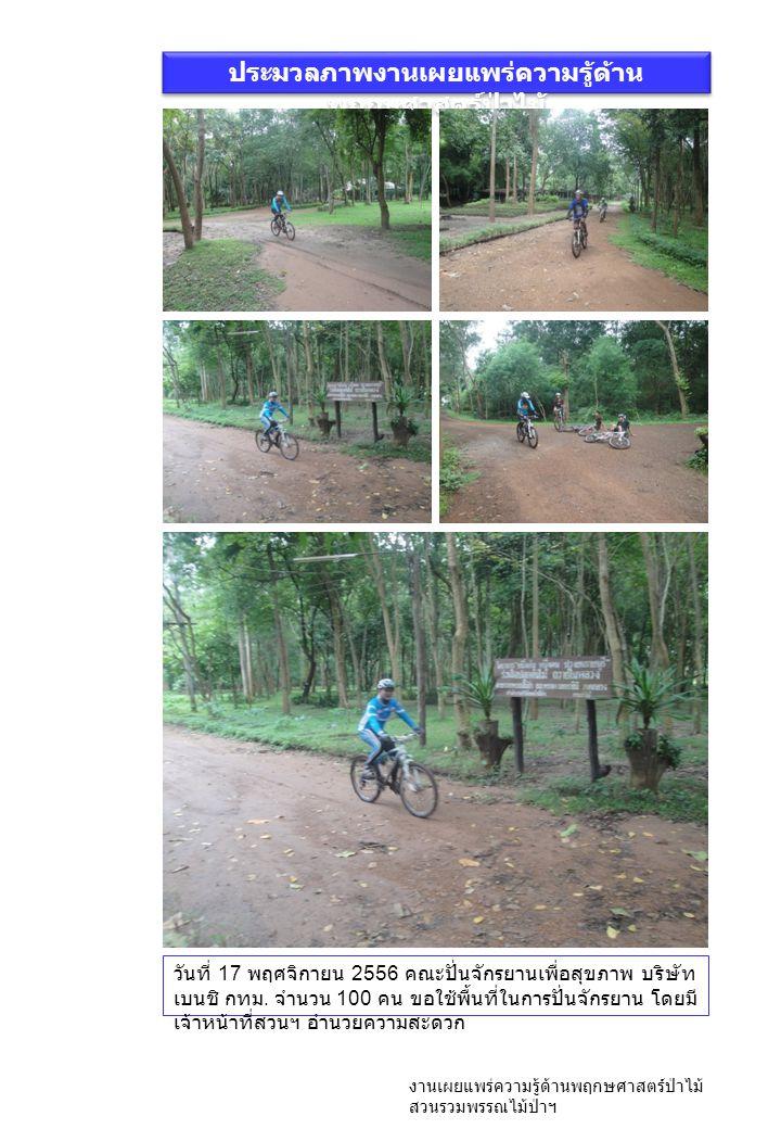 ประมวลภาพงานเผยแพร่ความรู้ด้าน พฤกษศาสตร์ป่าไม้ งานเผยแพร่ความรู้ด้านพฤกษศาสตร์ป่าไม้ สวนรวมพรรณไม้ป่าฯ วันที่ 17 พฤศจิกายน 2556 คณะปั่นจักรยานเพื่อสุขภาพ บริษัท เบนชิ กทม.