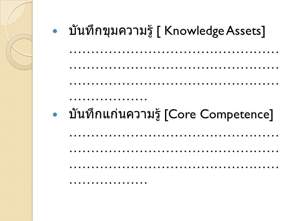 บันทึกขุมความรู้ [ Knowledge Assets] ………………………………………… ………………………………………… ………………………………………… ……………… บันทึกแก่นความรู้ [Core Competence] ………………………………………… ………………………………………… ………………………………………… ………………