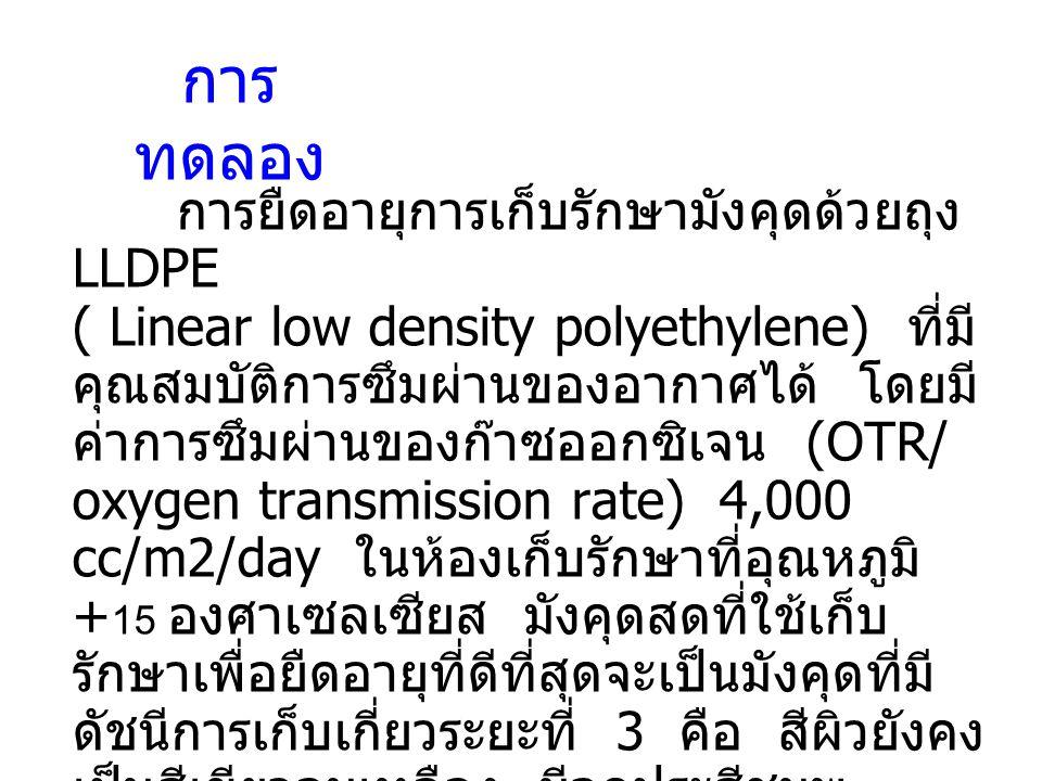 การ ทดลอง การยืดอายุการเก็บรักษามังคุดด้วยถุง LLDPE ( Linear low density polyethylene) ที่มี คุณสมบัติการซึมผ่านของอากาศได้ โดยมี ค่าการซึมผ่านของก๊าซ