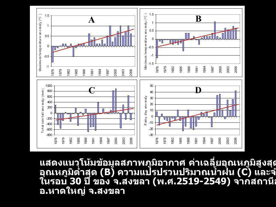 A B C D แสดงแนวโน้มข้อมูลสภาพภูมิอากาศ ค่าเฉลี่ยอุณหภูมิสูงสุด (A) อุณหภูมิต่ำสุด (B) ความแปรปรวนปริมาณน้ำฝน (C) และจำนวนวันฝนตก (D) ในรอบ 30 ปี ของ จ