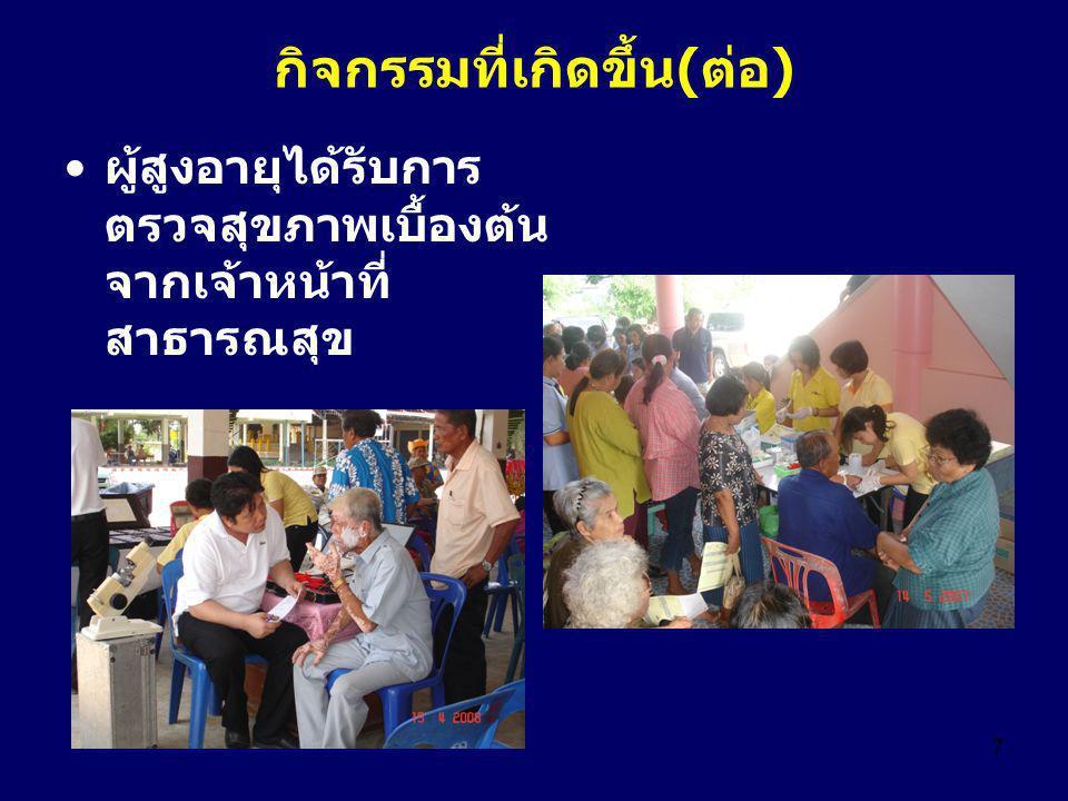 7 กิจกรรมที่เกิดขึ้น(ต่อ) ผู้สูงอายุได้รับการ ตรวจสุขภาพเบื้องต้น จากเจ้าหน้าที่ สาธารณสุข