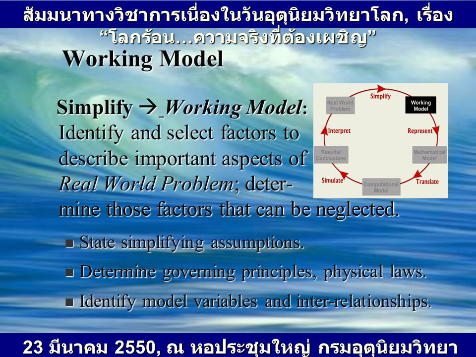 Working Model Simplify  Working Model : Identify and select factors to describe important aspects of Real World Problem; deter- mine those factors th