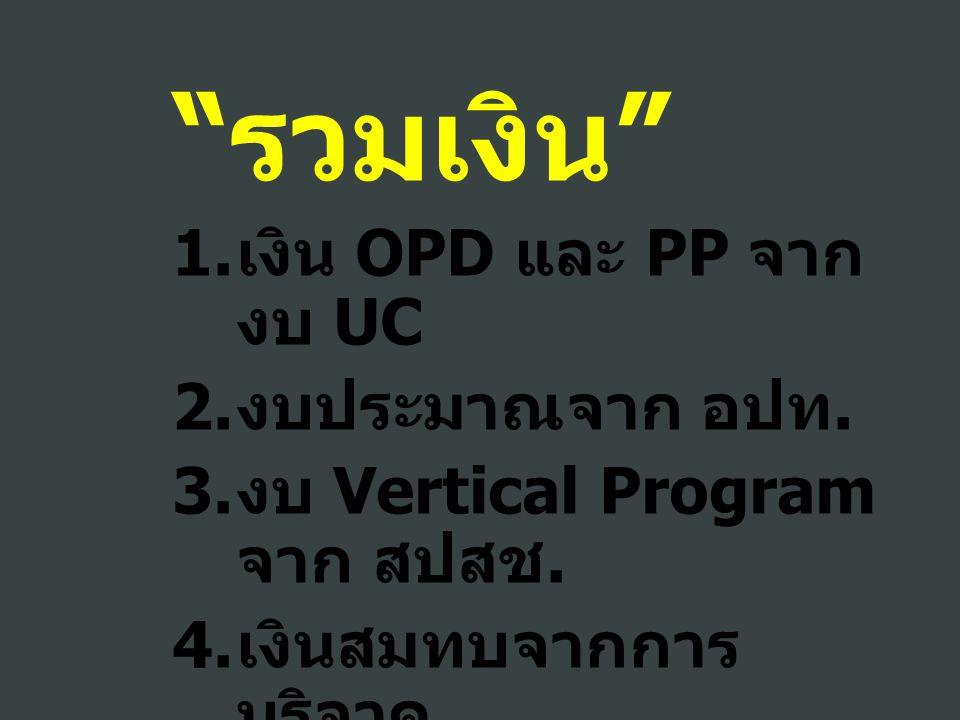 """"""" รวมเงิน """" 1. เงิน OPD และ PP จาก งบ UC 2. งบประมาณจาก อปท. 3. งบ Vertical Program จาก สปสช. 4. เงินสมทบจากการ บริจาค 5. อื่น ๆ จากกระทรวง"""