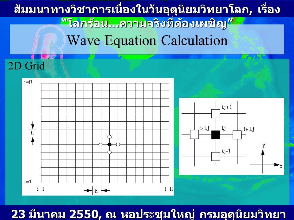 Wave Equation Calculation (cont 2) Approximating second derivatives by central differences: ---------- (3) Approximating all second derivatives using central differences for finite different method (FDM) สัมมนาทางวิชาการเนื่องในวันอุตุนิยมวิทยาโลก, เรื่อง โลกร้อน … ความจริงที่ต้องเผชิญ