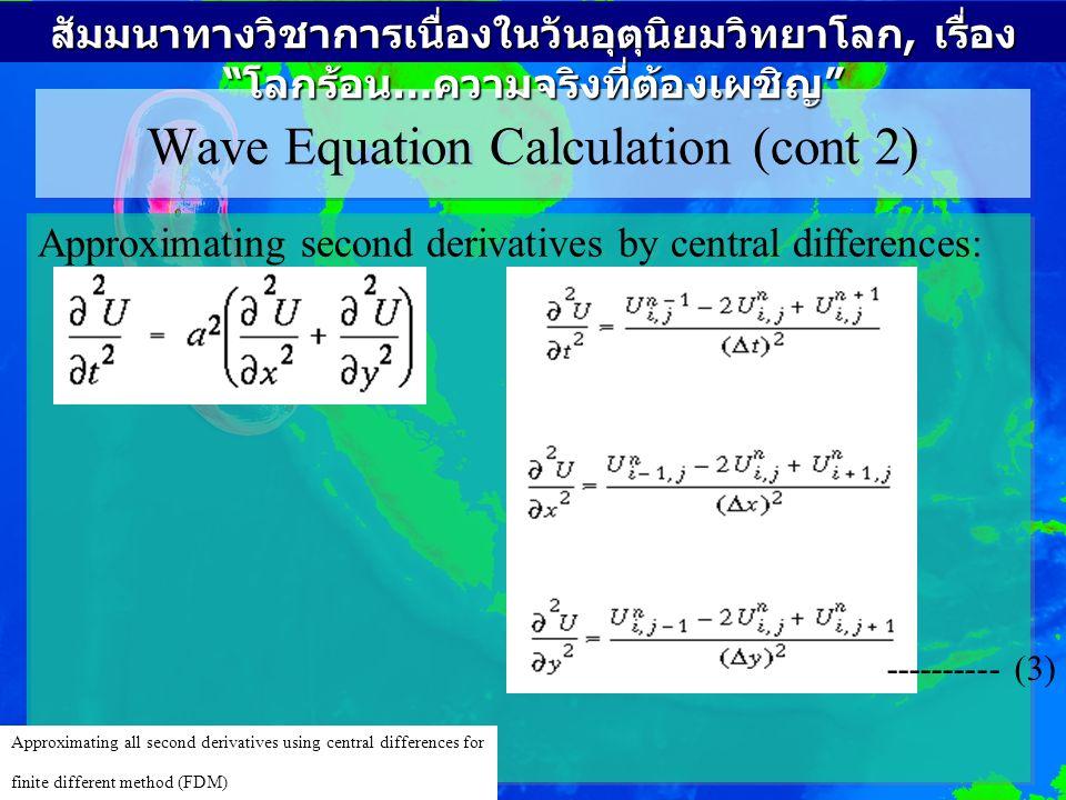 Wave Equation Calculation (cont 3) From where u(n+1) may be calculated as: -------------- (4) สัมมนาทางวิชาการเนื่องในวันอุตุนิยมวิทยาโลก, เรื่อง โลกร้อน … ความจริงที่ต้องเผชิญ