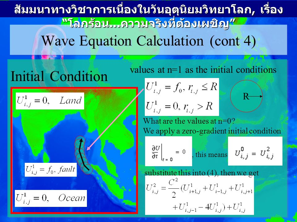 Wave Equation Calculation (cont 5) Boundary Condition 4 boundaries are free (open).