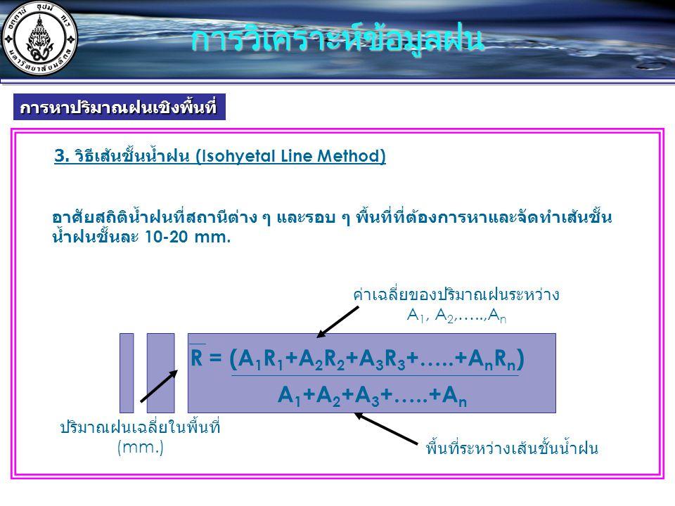 3. วิธีเส้นชั้นน้ำฝน (Isohyetal Line Method) R = (A 1 R 1 +A 2 R 2 +A 3 R 3 +…..+A n R n ) A 1 +A 2 +A 3 +…..+A n อาศัยสถิติน้ำฝนที่สถานีต่าง ๆ และรอบ