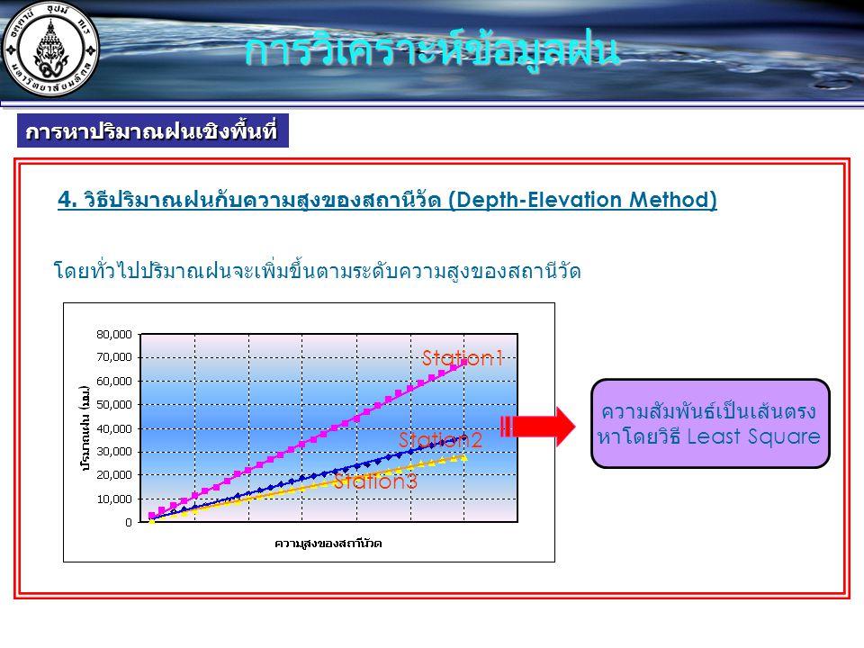 4. วิธีปริมาณฝนกับความสูงของสถานีวัด (Depth-Elevation Method) โดยทั่วไปปริมาณฝนจะเพิ่มขึ้นตามระดับความสูงของสถานีวัด Station1 Station2 Station3 ความสั