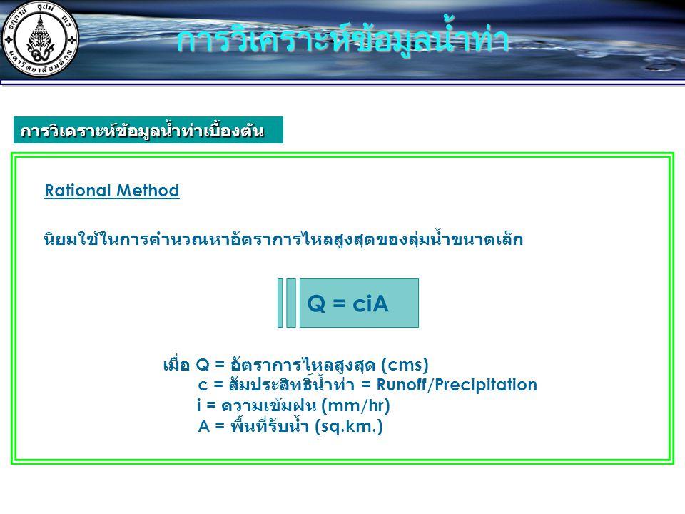 Rational Method Q = ciA เมื่อ Q = อัตราการไหลสูงสุด (cms) c = สัมประสิทธิ์น้ำท่า = Runoff/Precipitation i = ความเข้มฝน (mm/hr) A = พื้นที่รับน้ำ (sq.km.) นิยมใช้ในการคำนวณหาอัตราการไหลสูงสุดของลุ่มน้ำขนาดเล็ก การวิเคราะห์ข้อมูลน้ำท่า การวิเคราะห์ข้อมูลน้ำท่าเบื้องต้น
