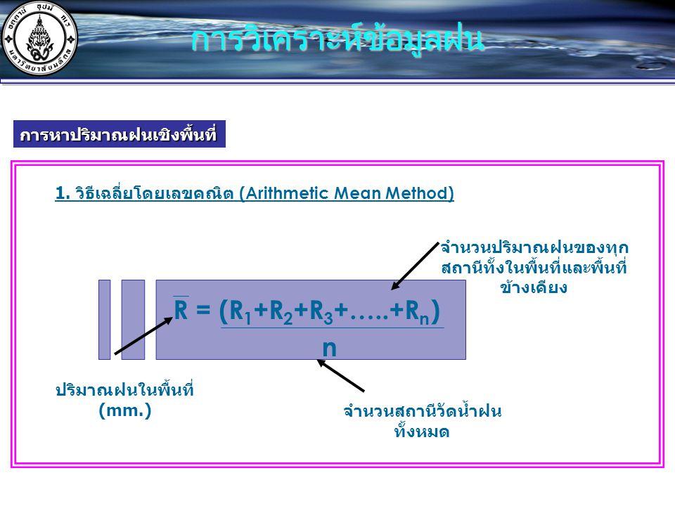 การหาปริมาณฝนเชิงพื้นที่ 1. วิธีเฉลี่ยโดยเลขคณิต (Arithmetic Mean Method) R = (R 1 +R 2 +R 3 +…..+R n ) n ปริมาณฝนในพื้นที่ (mm.) จำนวนสถานีวัดน้ำฝน ท