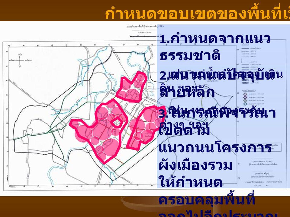 กำหนดขอบเขตของพื้นที่เป้าหมาย 1. กำหนดจากแนว ธรรมชาติ เช่น แม่น้ำลำคลอง เนิน ดิน ฯลฯ 2. แนวถนนปัจจุบัน สายหลัก เช่น ทางหลวงระดับ ต่างๆ ฯลฯ 3. ในกรณีพิ