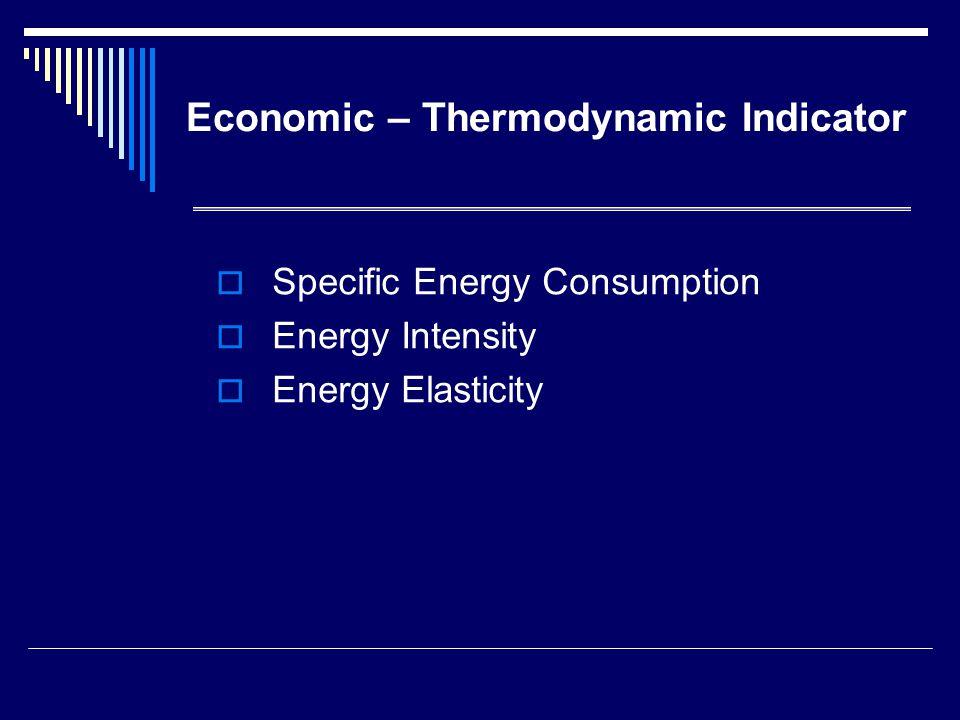 Specific Energy Consumption (SEC) SEC=E/P E= ปริมาณพลังงานที่ใช้ ไป P= ผลผลิตที่ได้