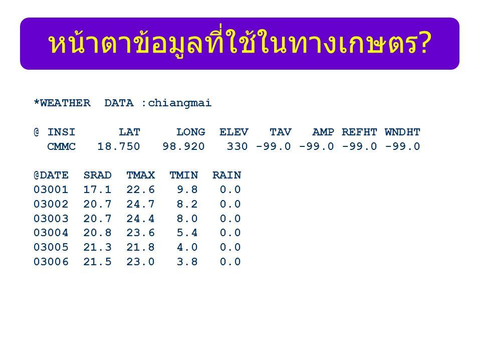 หน้าตาข้อมูลที่ใช้ในทางเกษตร? *WEATHER DATA :chiangmai @ INSI LAT LONG ELEV TAV AMP REFHT WNDHT CMMC 18.750 98.920 330 -99.0 -99.0 -99.0 -99.0 @DATE S