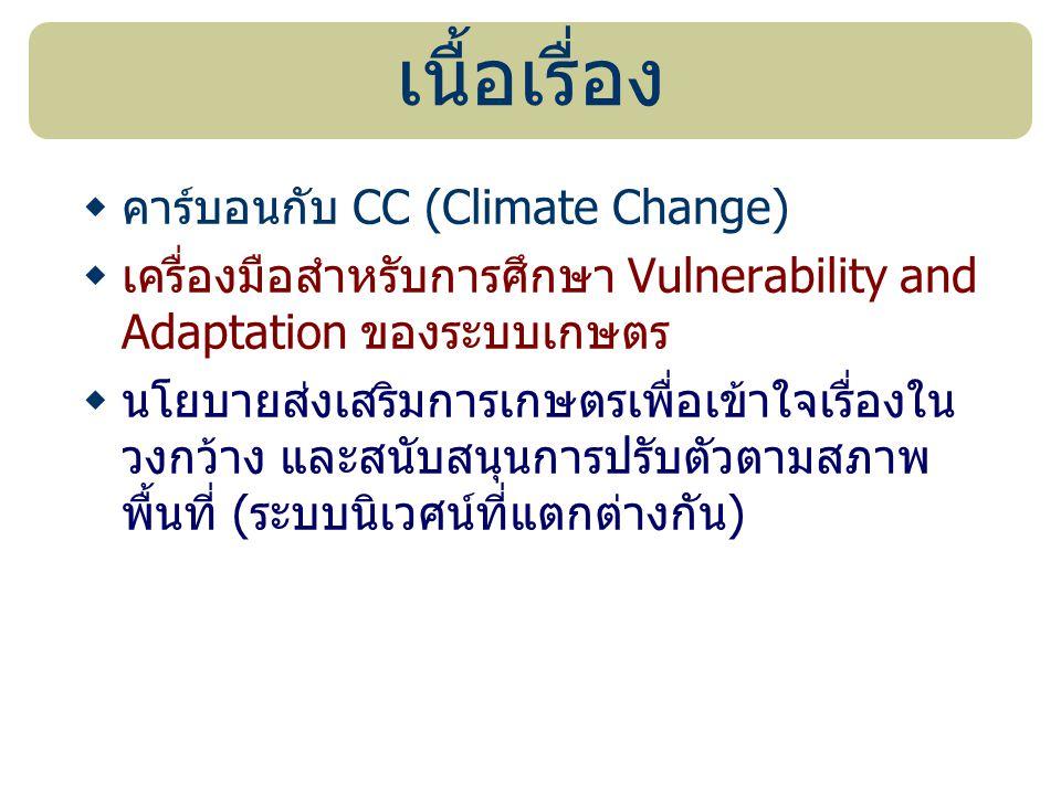 เนื้อเรื่อง  คาร์บอนกับ CC (Climate Change)  เครื่องมือสำหรับการศึกษา Vulnerability and Adaptation ของระบบเกษตร  นโยบายส่งเสริมการเกษตรเพื่อเข้าใจเ