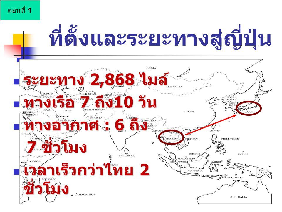 ที่ตั้งและระยะทางสู่ญี่ปุ่น ระยะทาง 2,868 ไมล์ ระยะทาง 2,868 ไมล์ ทางเรือ 7 ถึง10 วัน ทางเรือ 7 ถึง10 วัน ทางอากาศ : 6 ถึง ทางอากาศ : 6 ถึง 7 ชั่วโมง 7 ชั่วโมง เวลาเร็วกว่าไทย 2 ชั่วโมง เวลาเร็วกว่าไทย 2 ชั่วโมง ตอนที่ 1