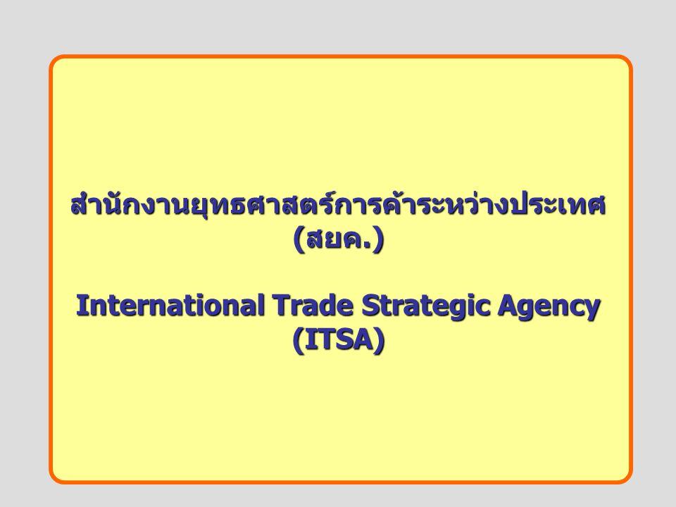 สำนักงานยุทธศาสตร์การค้าระหว่างประเทศ ( สยค.) International Trade Strategic Agency (ITSA)