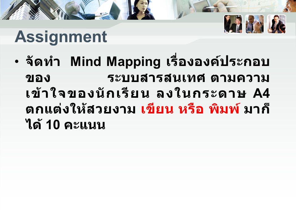 Assignment จัดทำ Mind Mapping เรื่ององค์ประกอบ ของ ระบบสารสนเทศ ตามความ เข้าใจของนักเรียน ลงในกระดาษ A4 ตกแต่งให้สวยงาม เขียน หรือ พิมพ์ มาก็ ได้ 10 คะแนน