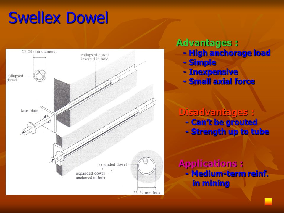Swellex Dowel Advantages : - High anchorage load - High anchorage load - Simple - Simple - Inexpensive - Inexpensive - Small axial force - Small axial force Disadvantages : - Can't be grouted - Can't be grouted - Strength up to tube - Strength up to tube Applications : - Medium-term reinf.