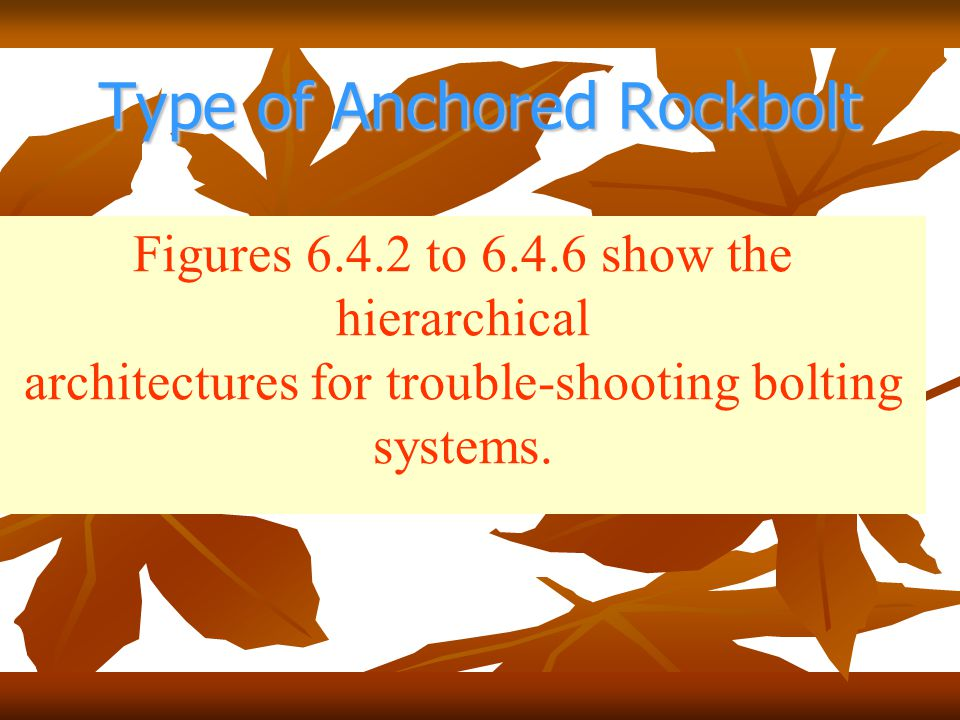 Type of Anchored Rockbolt Figures 6.4.2 to 6.4.6 show the hierarchical architectures for trouble-shooting bolting systems.