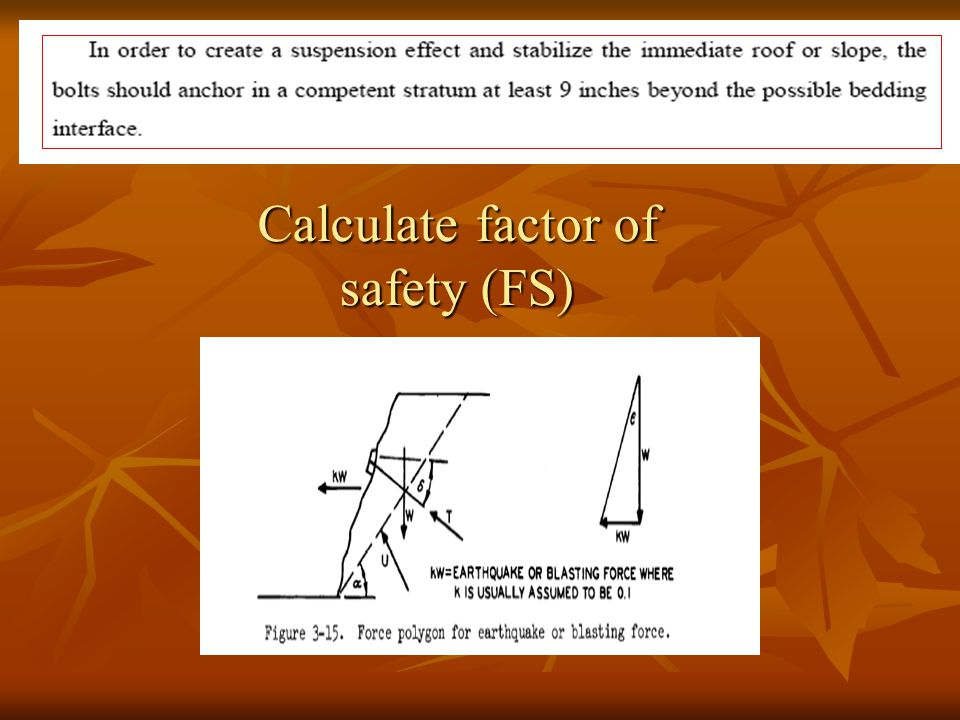 Calculate factor of safety (FS)