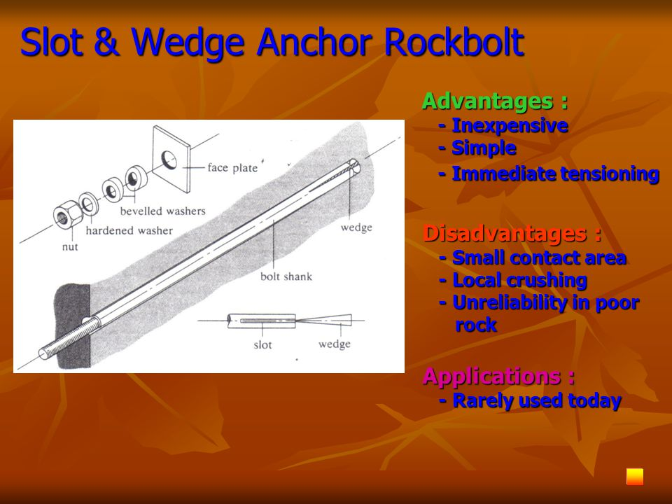 Slot & Wedge Anchor Rockbolt Advantages : - Inexpensive - Inexpensive - Simple - Simple - Immediate tensioning - Immediate tensioning Disadvantages :